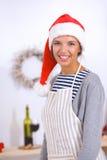 Het gelukkige jonge vrouw gelukkig glimlachen hebbend pret met Stock Foto