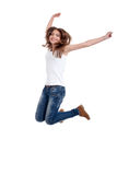 Het gelukkige jonge vrouw springen royalty-vrije stock afbeelding