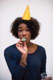 Het gelukkige jonge vrouw vieren Stock Foto's