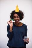 Het gelukkige jonge vrouw vieren Stock Afbeeldingen