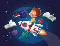 Het gelukkige Jongen spelen en veronderstelt zich in ruimte die een stuk speelgoed ruimteraket drijven Boeken, planeten, raket en stock illustratie