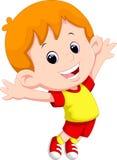 Het gelukkige jongen springen Stock Fotografie