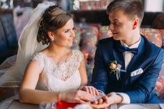 Het gelukkige jonggehuwde enloved paarholding elkaar terwijl het zitten op bank in restaurant overhandigt Royalty-vrije Stock Afbeelding