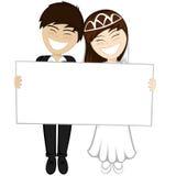 Het gelukkige jonggehuwden glimlachen Stock Afbeelding