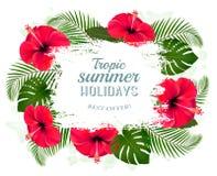 Het gelukkige kader van de de zomervakantie met rode bloemen en tropische bladeren royalty-vrije illustratie