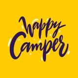 Het gelukkige Kampeerauto hand getrokken vector van letters voorzien Geïsoleerd op gele achtergrond vector illustratie