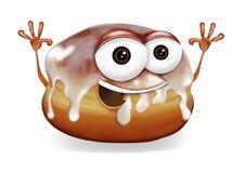 Het gelukkige karakter lachend, leuk en grappig banketbakkerswerkkarakter van het doughnutbeeldverhaal met een grote glimlach, op Stock Afbeeldingen