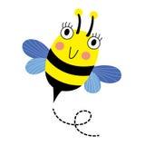 Het gelukkige karakter van het Bijen vliegende beeldverhaal Stock Fotografie