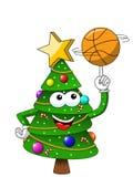 Het gelukkige Kerstmis of Kerstmis speeldiebasketbal van de karaktermascotte op wit wordt geïsoleerd royalty-vrije illustratie
