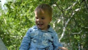 Het gelukkige kind die op de tak van een berk slingeren stock video