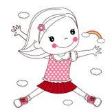 Het gelukkige kind springen Royalty-vrije Stock Afbeeldingen