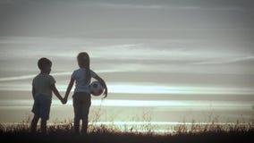 Het gelukkige kind twee spelen op weide, zonsondergang, zomer stock footage