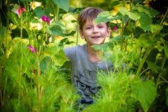 Het gelukkige kind van de mulatjongen glimlacht het genieten van het van goedgekeurde leven Portret van jonge jongen in aard, par stock afbeelding
