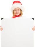 Het gelukkige kind van Kerstmis met de raad Stock Afbeelding