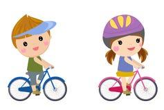 Het gelukkige kinderen biking vector illustratie