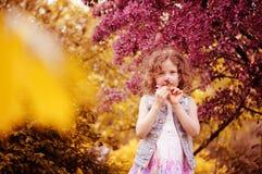 Het gelukkige kindmeisje ruikt bloemen bij bloeiende kersenboom in de lentetuin stock afbeeldingen