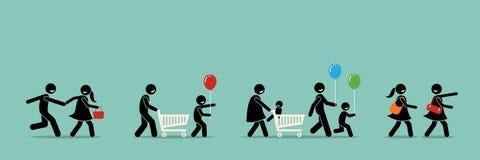 Het gelukkige klanten winkelen royalty-vrije illustratie
