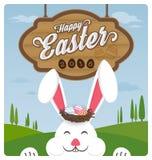 Het gelukkige konijn van Pasen en het glimlachen stock illustratie
