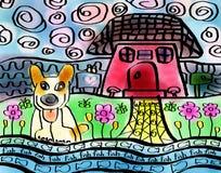 Het gelukkige Kunstwerk van het Hond Welkome Huis Royalty-vrije Stock Foto