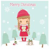 Het gelukkige leuke meisje bereidt giften voor Kerstmisfestival voor royalty-vrije illustratie