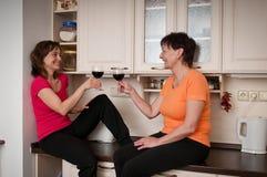 Het gelukkige leven - moeder en dochter het drinken wijn Royalty-vrije Stock Afbeeldingen
