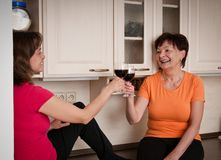 Het gelukkige leven - moeder en dochter het drinken wijn royalty-vrije stock foto