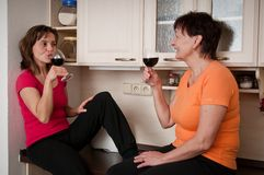 Het gelukkige leven - moeder en dochter het drinken wijn Stock Afbeelding