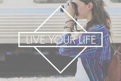 Het gelukkige Leven voelt Goed Geluk Live Concept Stock Foto's