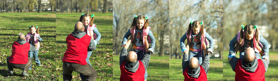 Het gelukkige lopen van het kind aan vader stock fotografie