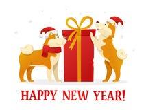 Het gelukkige malplaatje van de Nieuwjaar 2018 prentbriefkaar met twee leuke gele honden met graaft rode gift op witte achtergron Royalty-vrije Stock Foto's