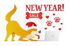 Het gelukkige malplaatje van de Nieuwjaarprentbriefkaar met de leuke gele hond die Kerstmis tot giften op witte achtergrond opdra Royalty-vrije Stock Afbeeldingen