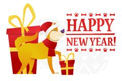 Het gelukkige malplaatje van de Nieuwjaarprentbriefkaar met de leuke gele hond met de rode gift op witte achtergrond Het hondbeel Royalty-vrije Stock Foto's