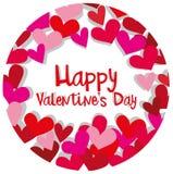 Het gelukkige malplaatje van de valentijnskaartkaart met harten in rood en roze Royalty-vrije Stock Foto
