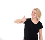 Het gelukkige meisje beduimelt omhoog Royalty-vrije Stock Foto