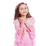 Het gelukkige meisje bidden stock afbeelding