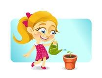 Het gelukkige meisje die van de blonde een installatie water geven Royalty-vrije Stock Afbeelding