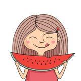 Het gelukkige meisje eet zoete watermeloen Royalty-vrije Stock Afbeeldingen
