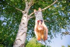 Het gelukkige meisje hangen van een boom in een de zomerpark stock fotografie