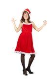 Het gelukkige meisje kleedde zich als het Meisje van de Sneeuw stock afbeelding