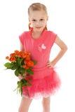 Het gelukkige meisje met nam in rode kleren toe Royalty-vrije Stock Afbeeldingen