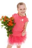 Het gelukkige meisje met nam in rode kleren toe Stock Foto