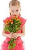 Het gelukkige meisje met nam in rode kleren toe Stock Afbeelding