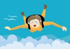 Het gelukkige meisje skydiving over wolken royalty-vrije illustratie