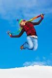 Het gelukkige meisje springen Stock Foto