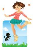 Het gelukkige Meisje Springen Stock Foto's