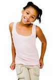 Het gelukkige meisje stellen Stock Foto