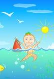 Het gelukkige meisje van de zomer Stock Afbeelding