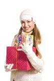 Het gelukkige meisje van het portret met een gift Royalty-vrije Stock Fotografie