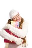 Het gelukkige meisje van het portret met een gift Stock Afbeeldingen
