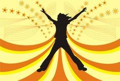 Het gelukkige meisje van het silhouet, vector Stock Fotografie